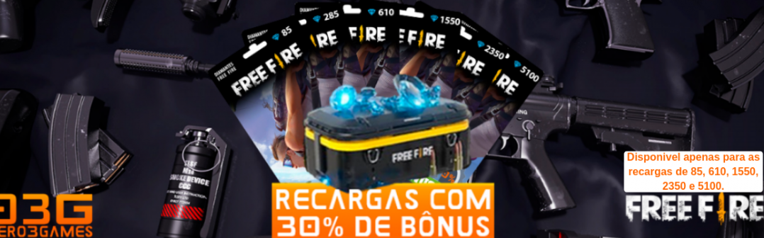 Diamantes com 30% de Bônus no Free Fire!